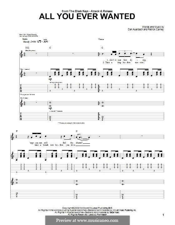 All You Ever Wanted (The Black Keys): For guitar with tab by Daniel Auerbach, Patrick Carney