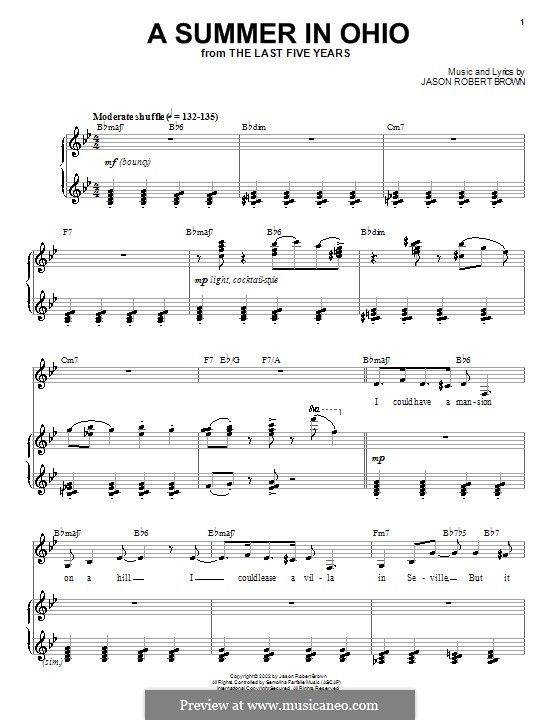 A Summer in Ohio: For voice and piano (or guitar) by Jason Robert Brown