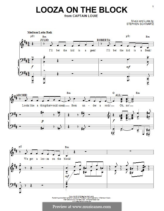Looza on the Block: For voice and piano (or guitar) by Stephen Schwartz
