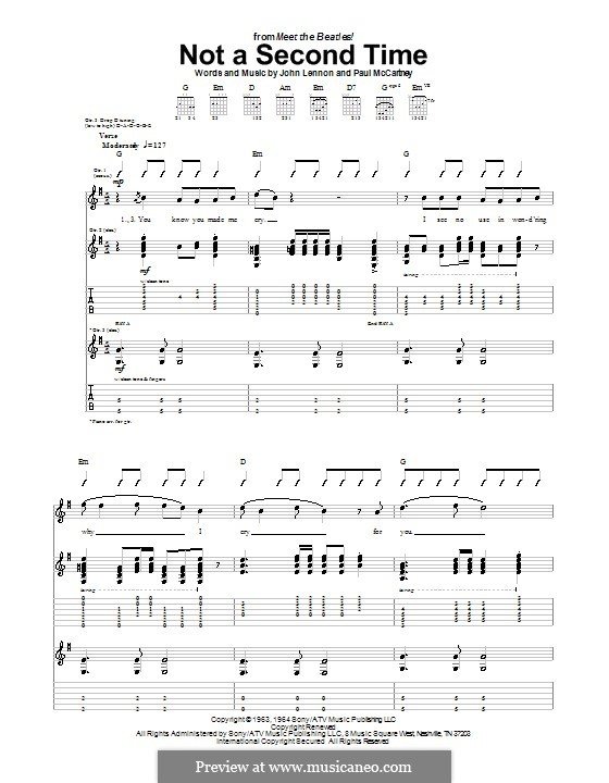 Not a Second Time (The Beatles): For guitar with tab by John Lennon, Paul McCartney
