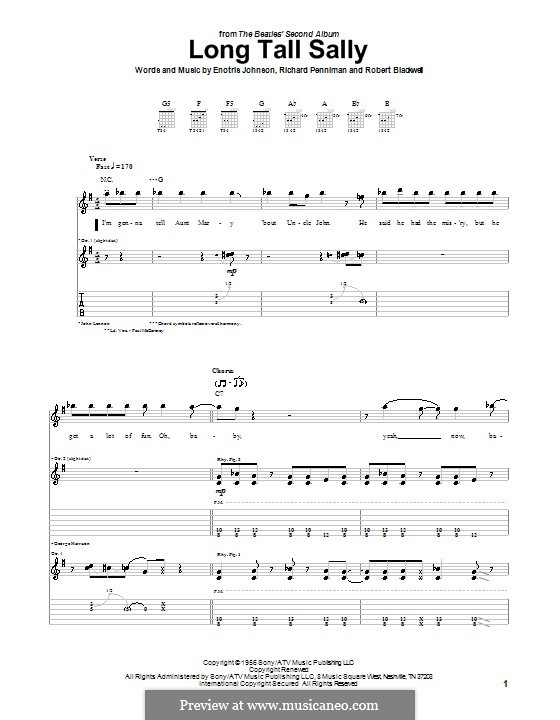 Long Tall Sally: For guitar with tabulature (The Beatles) by Little Richard, Enotris Johnson, Robert A. Blackwell