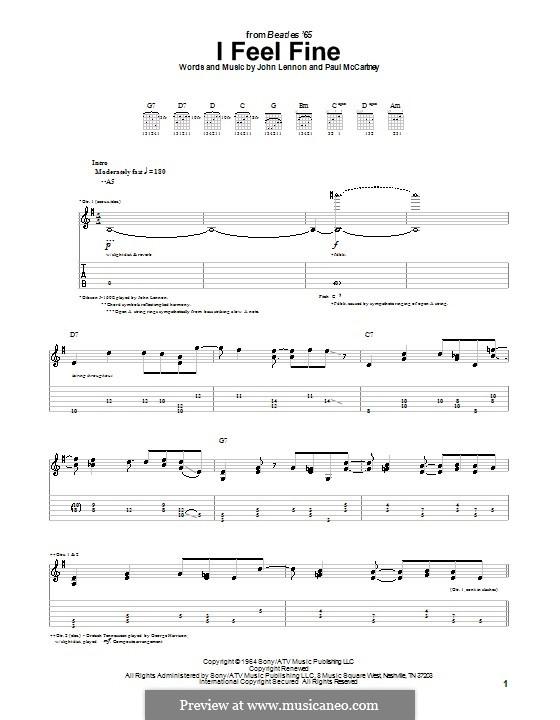 I Feel Fine (The Beatles): For guitar with tab by John Lennon, Paul McCartney