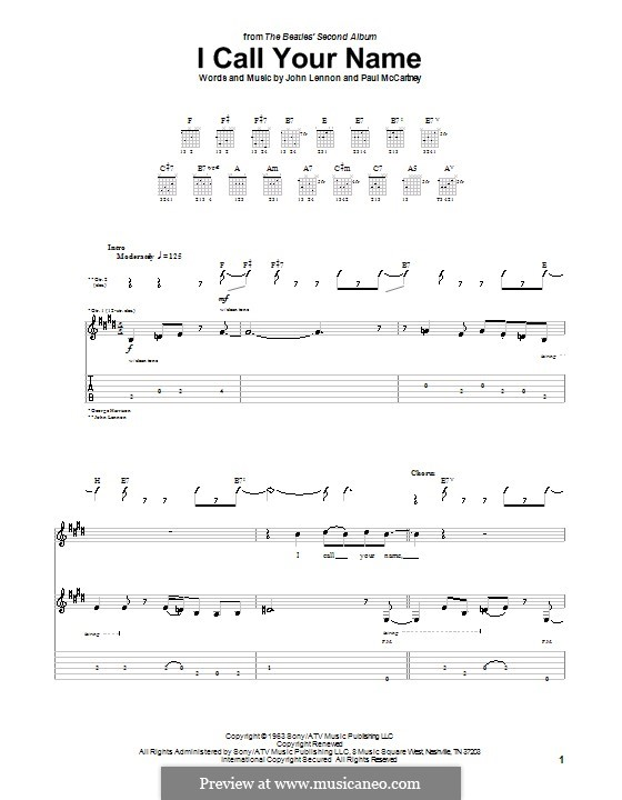 I Call Your Name (The Beatles): For guitar with tab by John Lennon, Paul McCartney