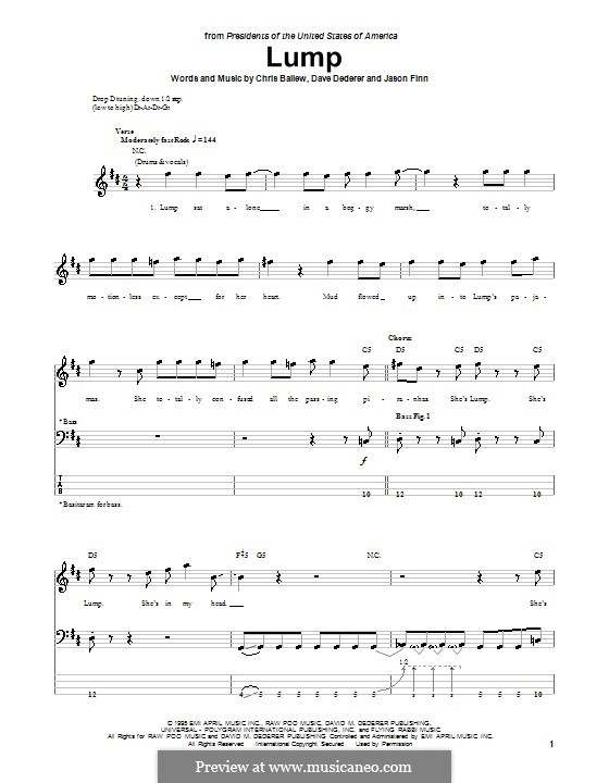 Lump (Presidents of The United States of America): For bass guitar with tab by Chris Ballew, David Dederer, Jason Finn