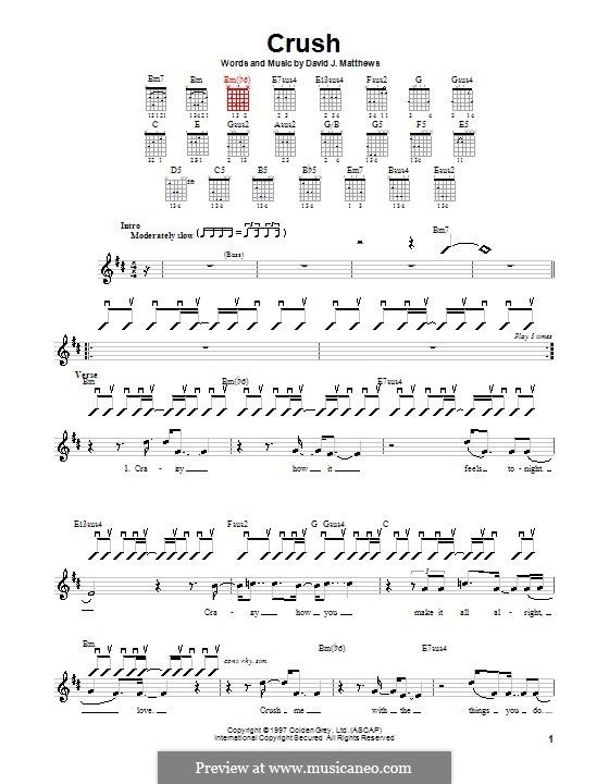 Crush (Dave Matthews Band): For guitar (with strumming patterns) by David J. Matthews