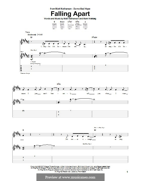 Falling Apart: For guitar with tab by Mark Weinberg