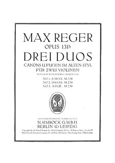 Canons and Fugues in Old Style for Two Violins, Op.131b: No.3 A Major by Max Reger