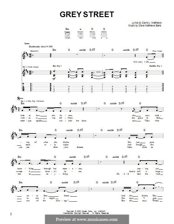 Grey Street (Dave Matthews Band): For guitar (very easy version) by David J. Matthews