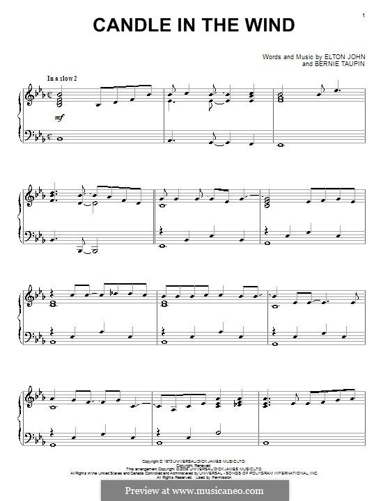 Candle in the Wind: For piano by Elton John