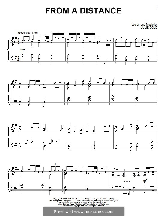 From a Distance: For piano by Julie Gold
