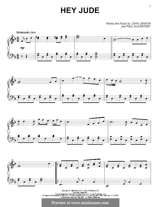 Hey Jude (The Beatles), for Piano: For a single performer by John Lennon, Paul McCartney