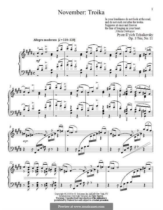 No.11 November (On the Troika): For piano (with fingering) by Pyotr Tchaikovsky