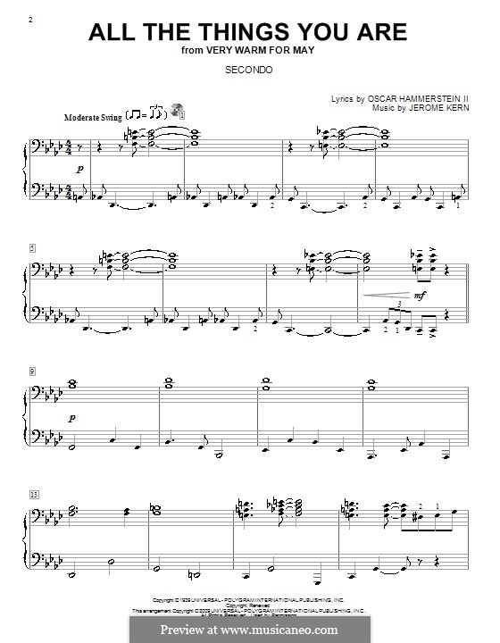 All the Things You are, for Piano: Version for piano four hands by Jerome Kern