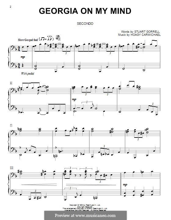 Georgia on My Mind, for Piano: Version for piano four hands by Hoagy Carmichael