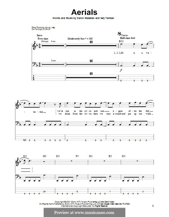 Aerials (System of a Down): For bass guitar with tab by Daron Malakian, Serj Tankian