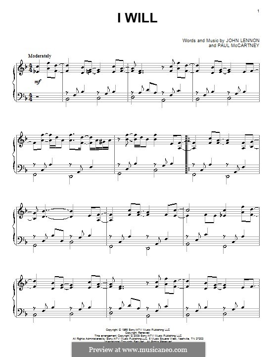I Will (The Beatles): For piano by John Lennon, Paul McCartney