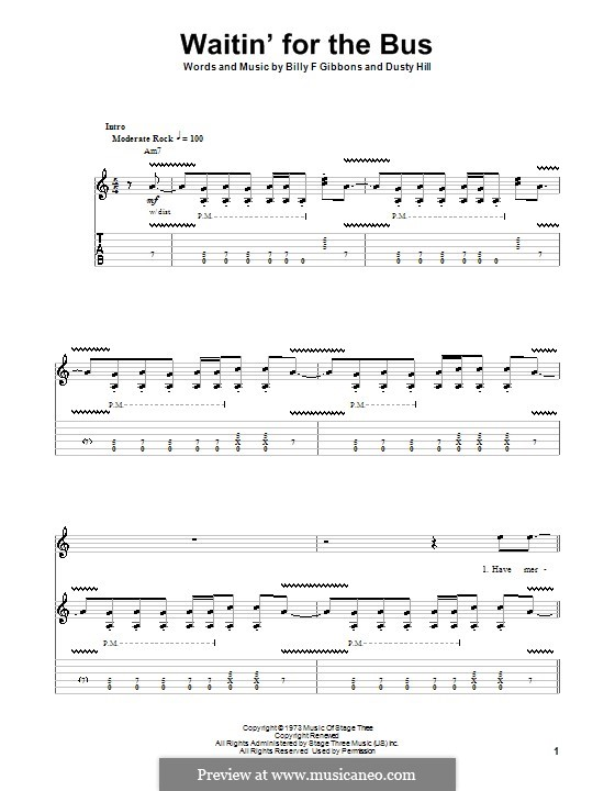 Waitin' for the Bus (ZZ Top): For guitar with tab by Billy F Gibbons, Dusty Hill