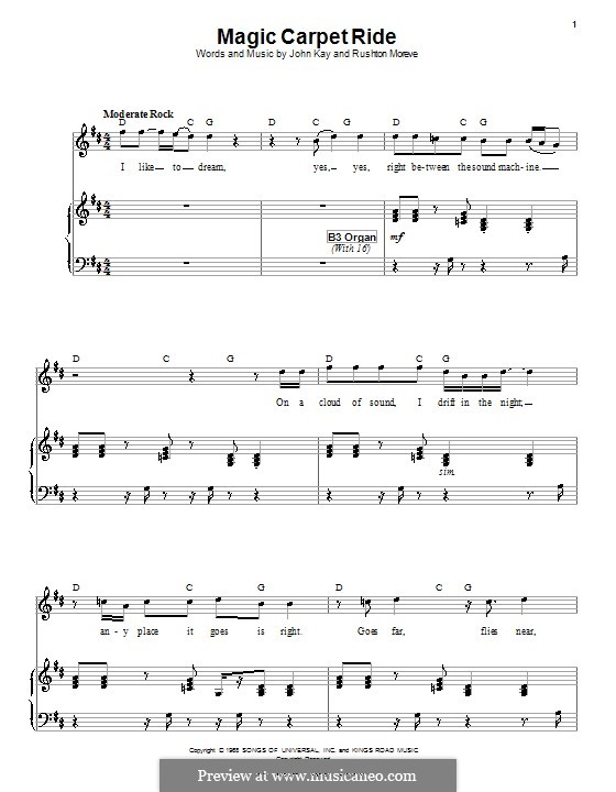 Magic Carpet Ride (Steppenwolf): For voice and piano (or guitar) by John Kay, Rushton Moreve