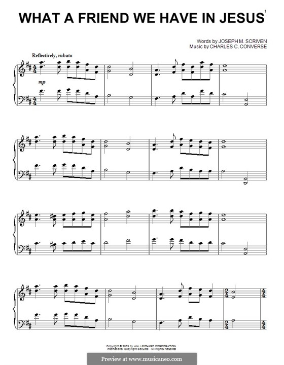 What a Friend We Have in Jesus (Printable): For piano by Charles Crozat Converse