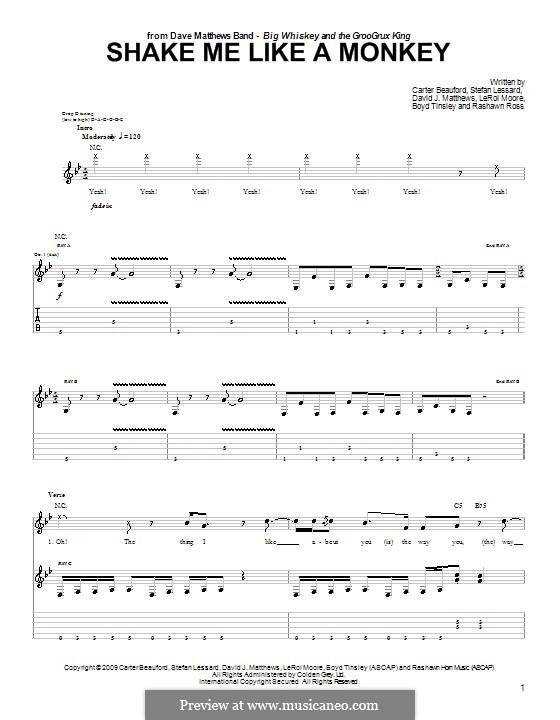 Shake Me Like a Monkey (Dave Matthews Band): For guitar with tab by Boyd Tinsley, Carter Beauford, David J. Matthews, Leroi Moore, Rashawn Ross, Stefan Lessard