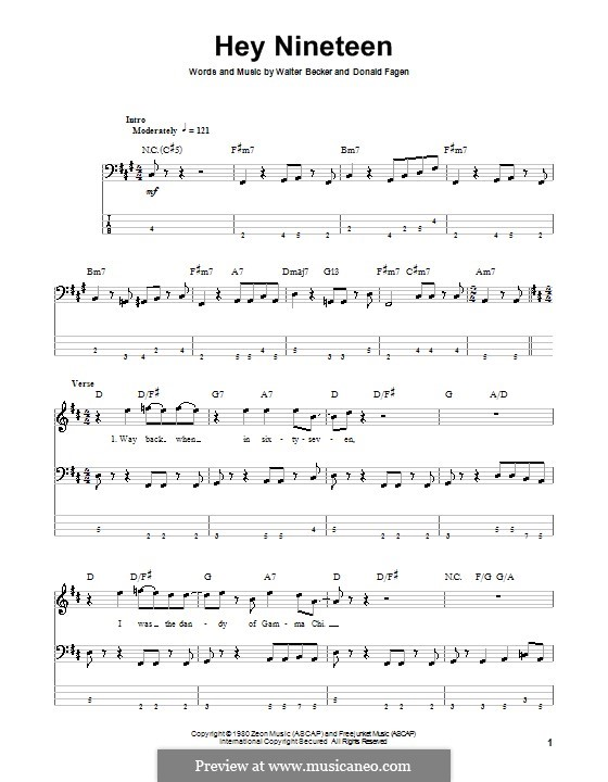 Hey Nineteen (Steely Dan): For bass guitar with tab by Donald Fagen, Walter Becker