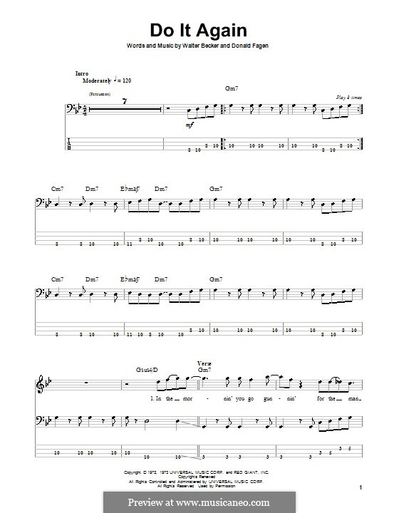 Do It Again (Steely Dan): For bass guitar with tab by Donald Fagen, Walter Becker
