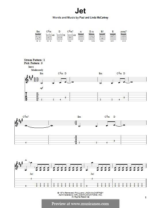 Jet (Wings): For guitar (very easy version) by Linda McCartney, Paul McCartney