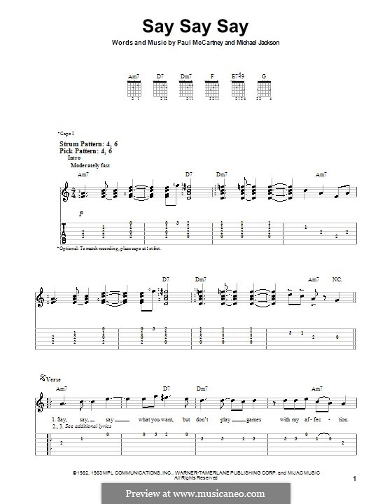 Say Say Say: For guitar (very easy version) by Michael Jackson, Paul McCartney