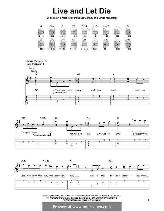 Live and Let Die (Wings): For guitar (very easy version) by Linda McCartney, Paul McCartney