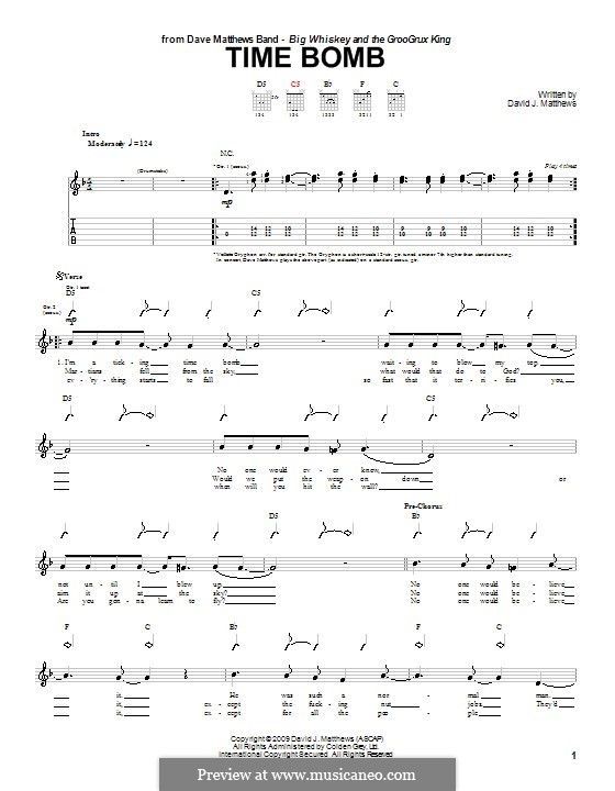 Time Bomb (Dave Matthews Band): For guitar with tab by David J. Matthews