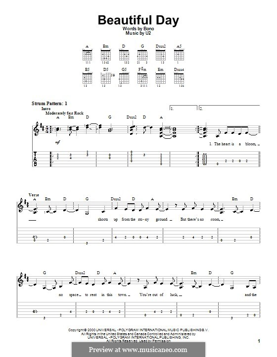 Beautiful Day: For easy guitar by U2