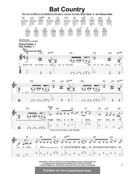Bat Country (Avenged Sevenfold): For guitar (very easy version) by Brian Haner Jr., James Sullivan, Matthew Sanders, Zachary Baker