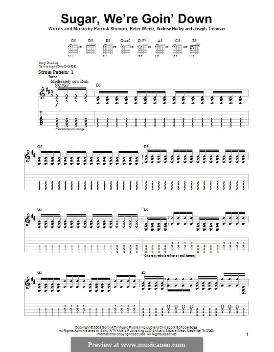 Sugar, We're Goin' Down (Fall Out Boy): For guitar (very easy version) by Andrew Hurley, Joseph Trohman, Patrick Stump, Peter Wentz
