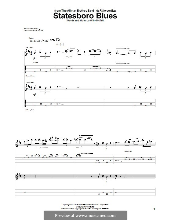 Statesboro Blues (The Allman Brothers Band): For guitar with tab by Blind Willie McTell