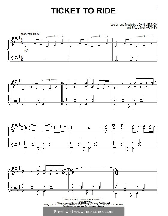 Ticket to Ride (The Beatles): For piano by John Lennon, Paul McCartney
