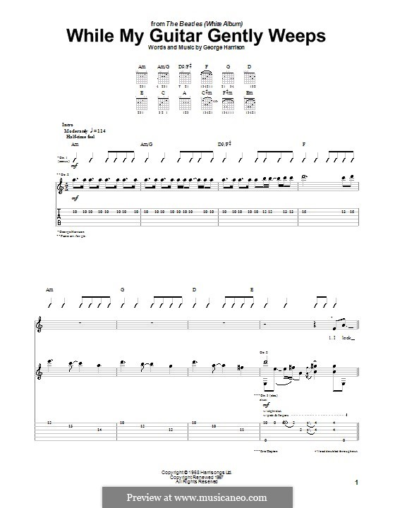 While My Guitar Gently Weeps (The Beatles): For guitar with tab by George Harrison