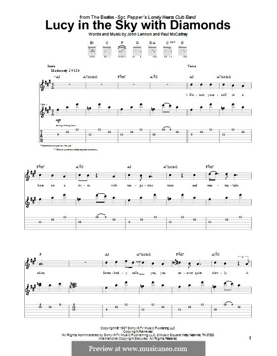 Lucy in the Sky with Diamonds (The Beatles): For guitar with tab (high quality sheet music) by John Lennon, Paul McCartney