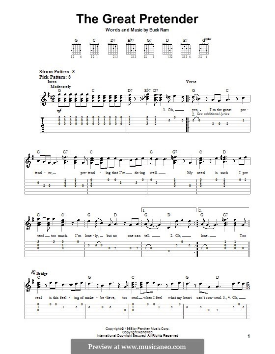 The Great Pretender (The Platters): For guitar (very easy version) by Buck Ram