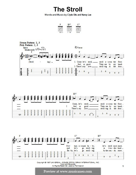 The Stroll (The Diamonds): For guitar (very easy version) by Clyde Otis, Nancy Lee