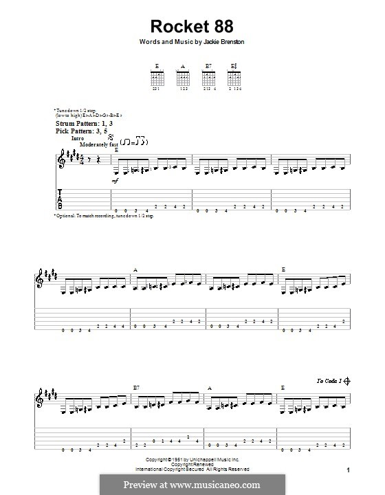Rocket 88: For guitar (very easy version) by Jackie Brenston