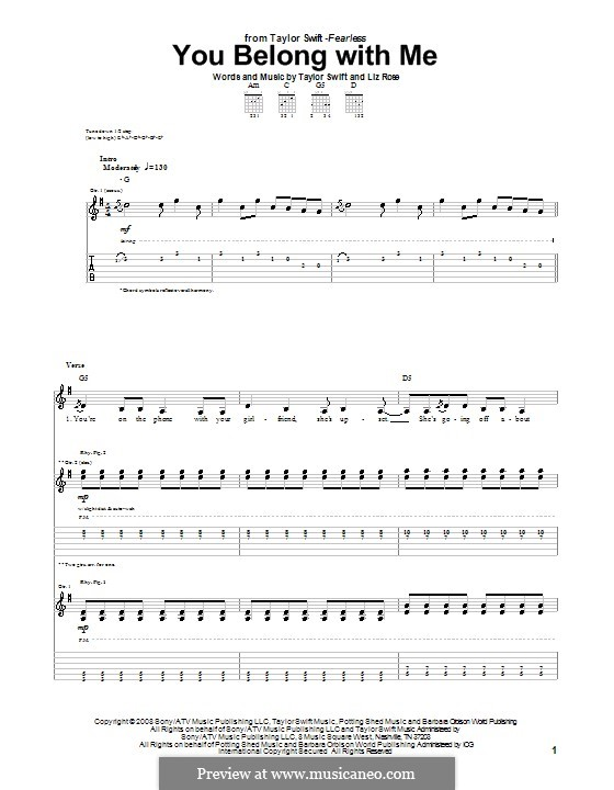 You Belong with Me (Taylor Swift): For guitar with tab by Liz Rose