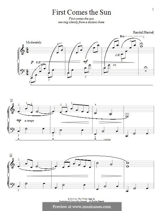 First Comes The Sun: For piano by Randall Hartsell