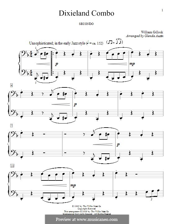 Dixieland Combo: For piano four hands by Glenda Austin