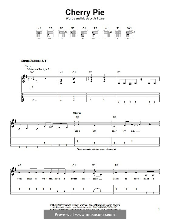 Cherry Pie (Warrant): For guitar (very easy version) by Jani Lane