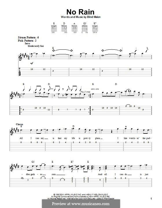 No Rain (Blind Melon): For guitar (very easy version) by Brad Smith, Christopher Thorn, Glen Graham, Roger Stevens, Shannon Hoon
