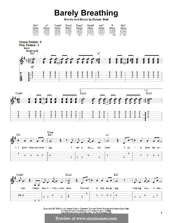 Barely Breathing: For guitar (very easy version) by Duncan Sheik