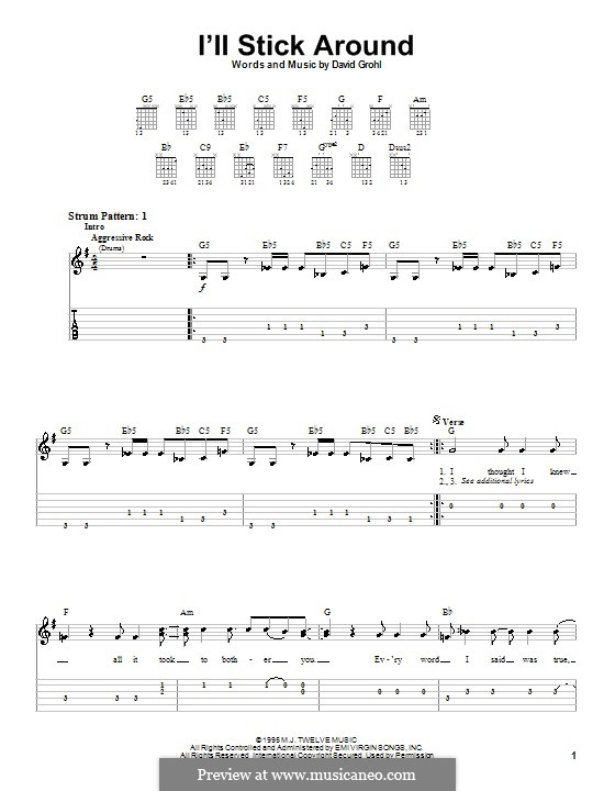 I'll Stick Around (Foo Fighters): For guitar (very easy version) by David Grohl