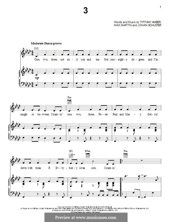 3 (Britney Spears): For voice and piano (or guitar) by Shellback, Max Martin, Tiffany Amber