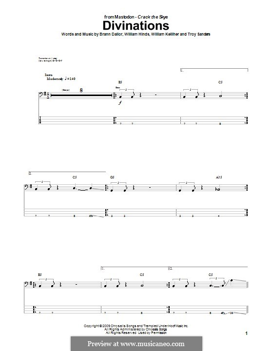 Divinations (Mastodon): For bass guitar with tab by Brann Dailor, Troy Sanders, William Hinds, William Kelliher