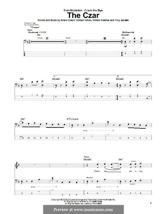 The Czar (Mastodon): For bass guitar with tab by Brann Dailor, Troy Sanders, William Hinds, William Kelliher